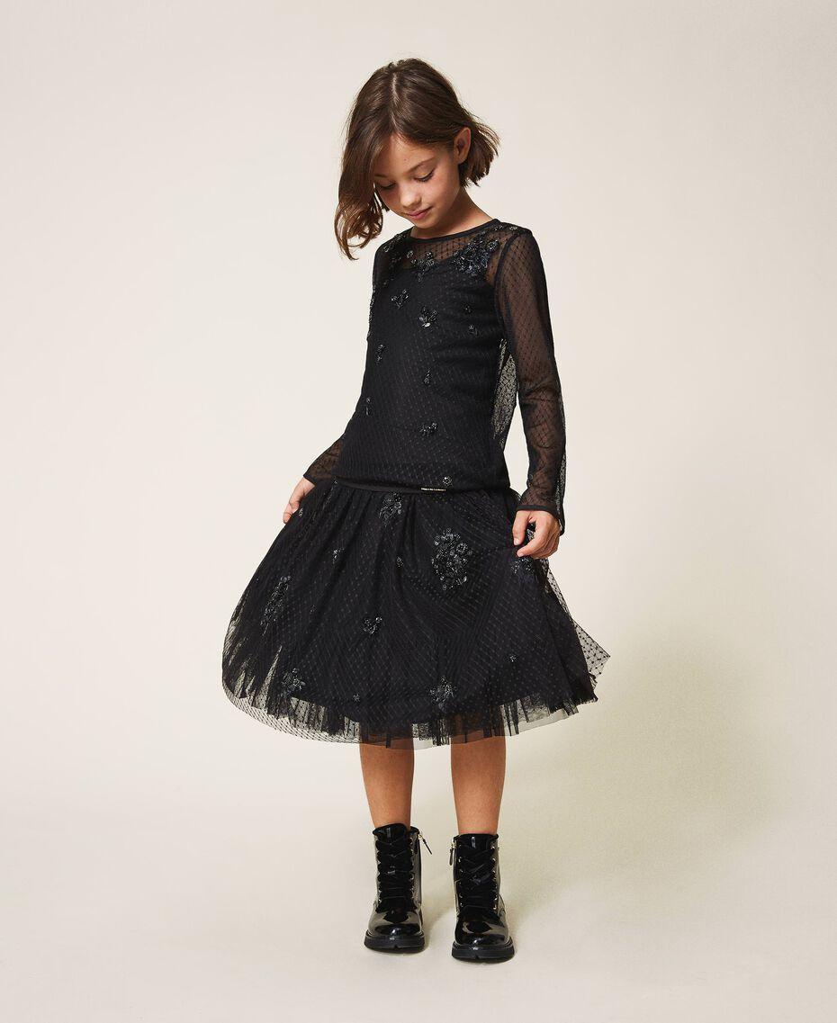 Bluse aus Tüll mit Stickereien Schwarz Kind 202GJ2611-01