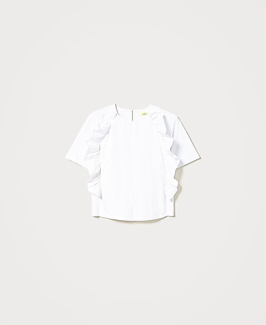 """Bluse """"Sabik"""" aus Popeline mit Rüschen Weiß Frau 211MT2413-0S"""