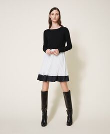 "Slip dress with wool blend jumper Bicolour Black / ""Snow"" White Woman 202TT3052-01"