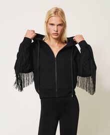 Sweatshirt with zip and fringes Creamy White Woman 202TP265E-01