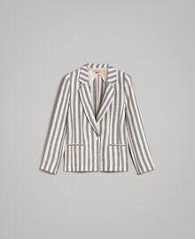 """Veste en lin à rayures bicolores Bicolore Noir / Beige """"Pâte d'Amande"""" Femme 191TT2310-0S"""