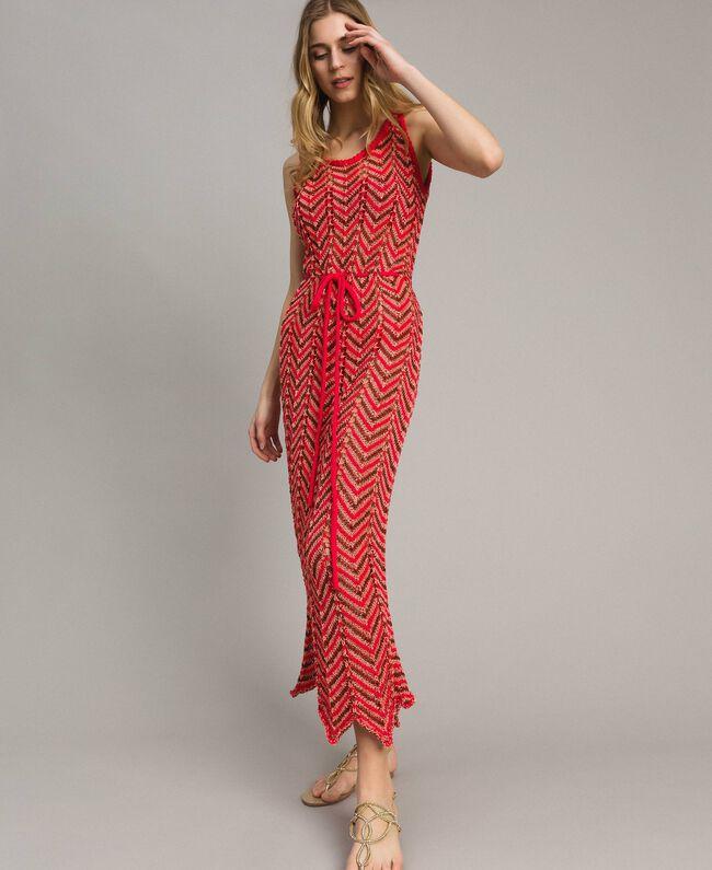 "Robe en maille de lurex Rouge ""Framboise"" Femme 191LM3KBB-01"