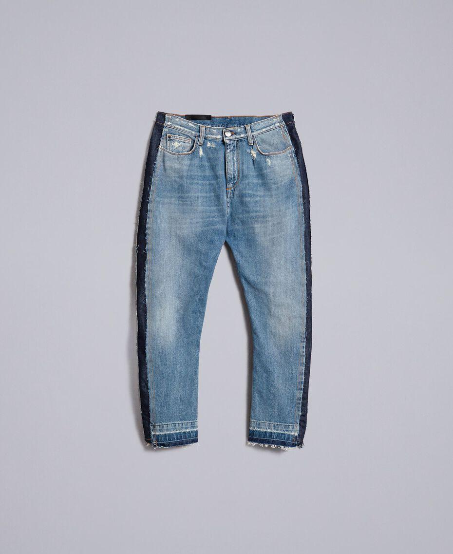 Jeans aus Denim mit Seitenstreifen Denimblau Frau JA82ZC-0S