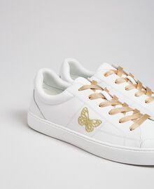 Baskets en cuir avec papillon brodé Blanc Femme 192TCP06A-02
