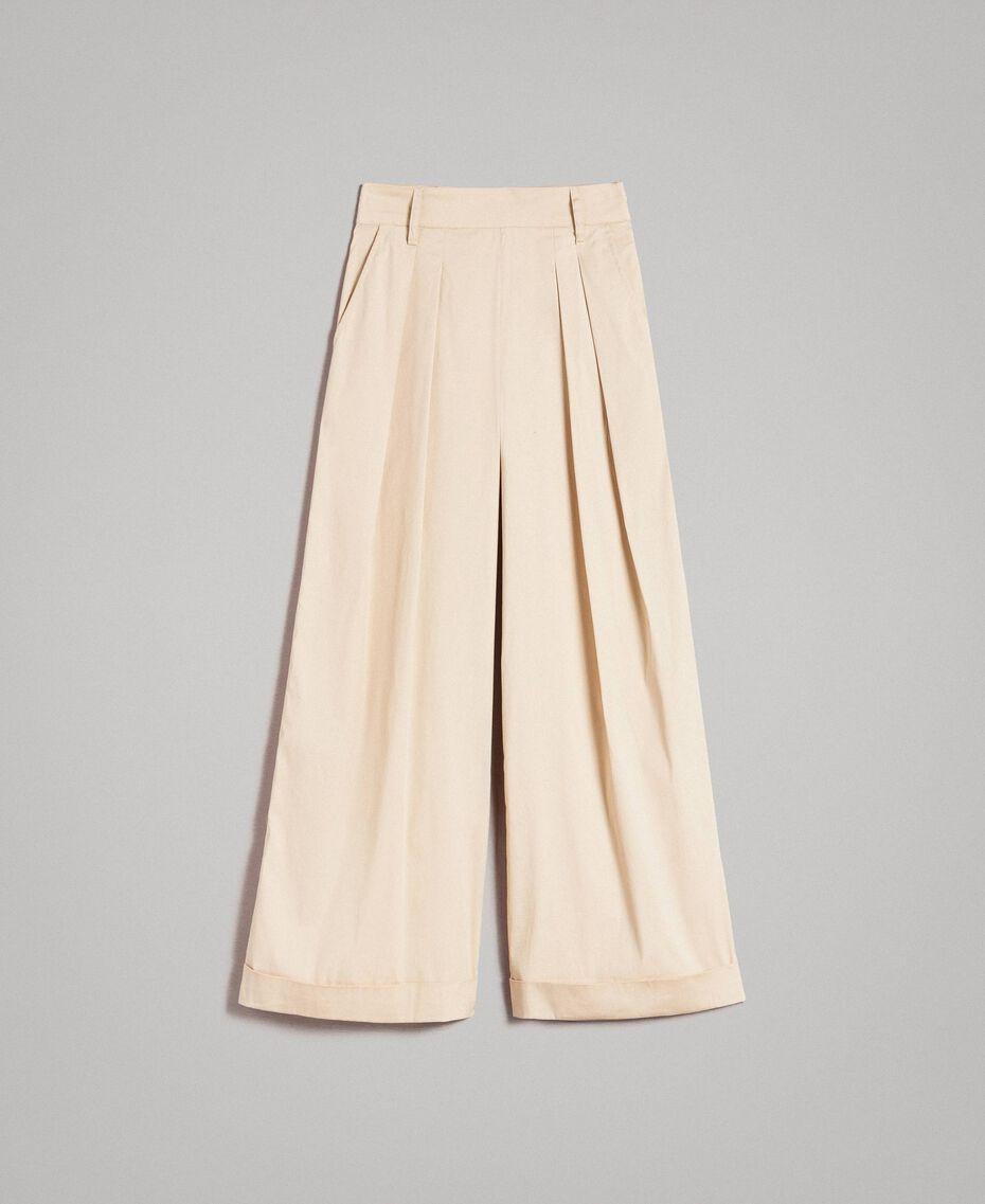 Pantalon palazzo en popeline Porcelaine Beige Femme 191MP2213-0S