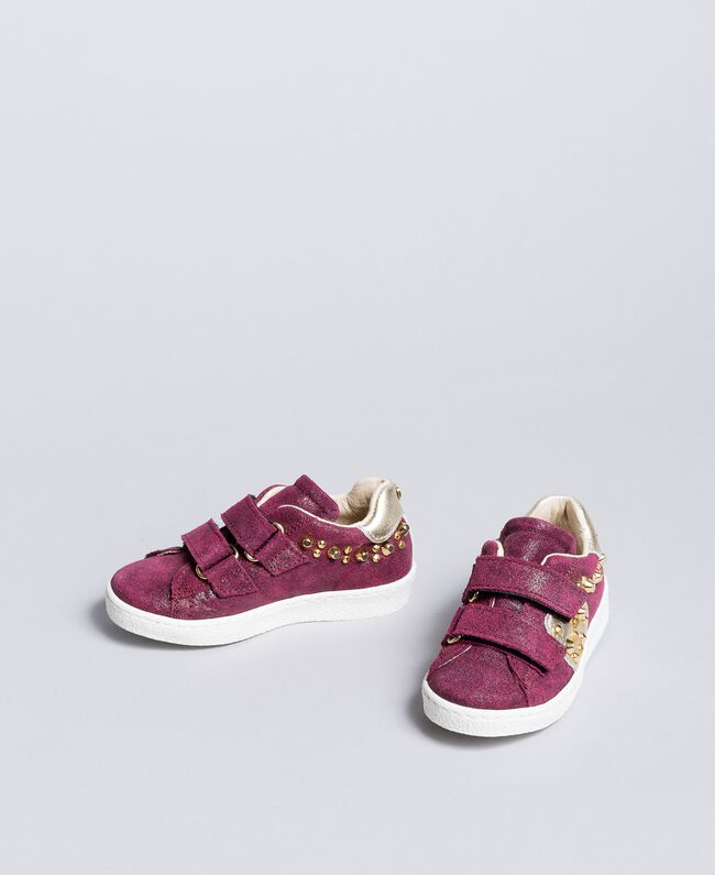"Sneakers scamosciate con rivetti Viola ""Sweet Grape"" Bambina HA86BQ-01"