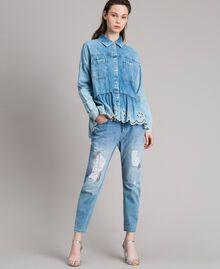 Denim shirt with broderie anglaise and flounce Denim Blue Woman 191MP2018-0T