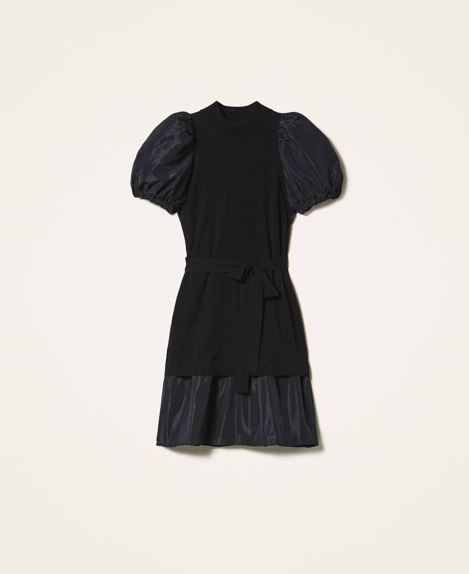 Taffeta and wool blend dress Black Woman 202TP3251-0S