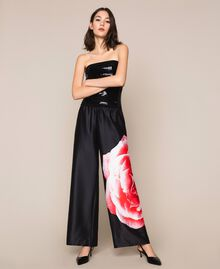 Palazzo trousers with print Black Rose Print Woman 201LB28RR-01