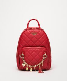 Quilted faux leather backpack with charms Venetian Red Woman 201MA7042-04