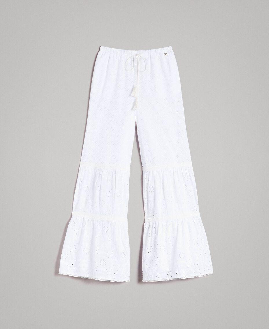 Pantalon en broderie anglaise avec cordon à la taille Blanc Femme 191MT2034-0S