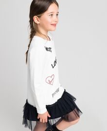 Dress with tulle, mesh and lace flounces White / Black Child 192GJ2431-02
