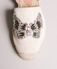 Leder-Espadrilles mit Schmuck-Schmetterling Blütenknospenrosa Frau 191TCP10A-05