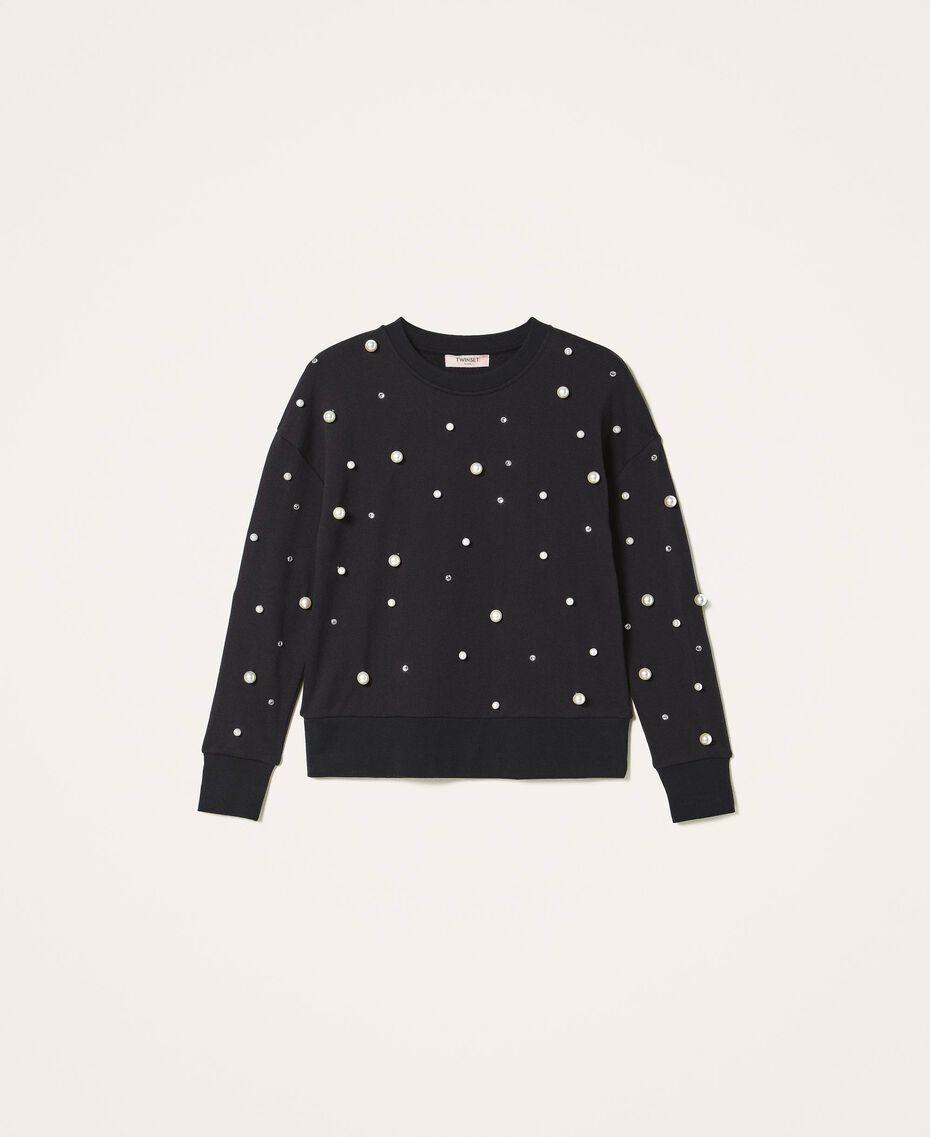 Sweatshirt mit aufgestickten Perlen Schwarz Frau 202TT2T51-0S