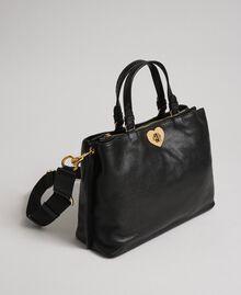Borsa shopper piccola in pelle con tracolla Nero Donna 192TO8091-02