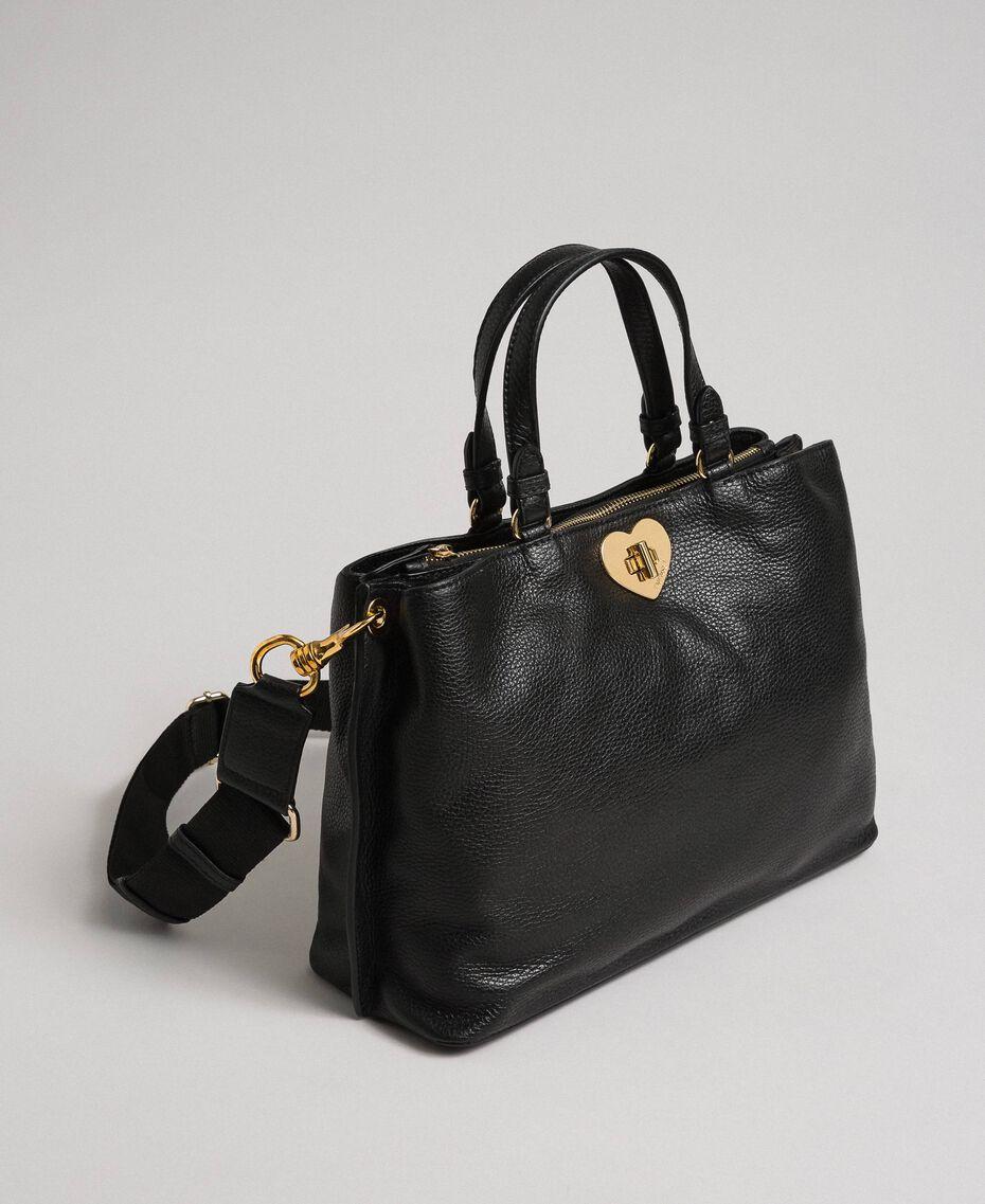 Petit cabas en cuir à bandoulière Noir Femme 192TO8091-02
