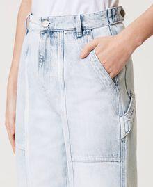 Jean cargo avec pattes de serrage Bleu «Beach» Brodé Femme 211TT243B-05