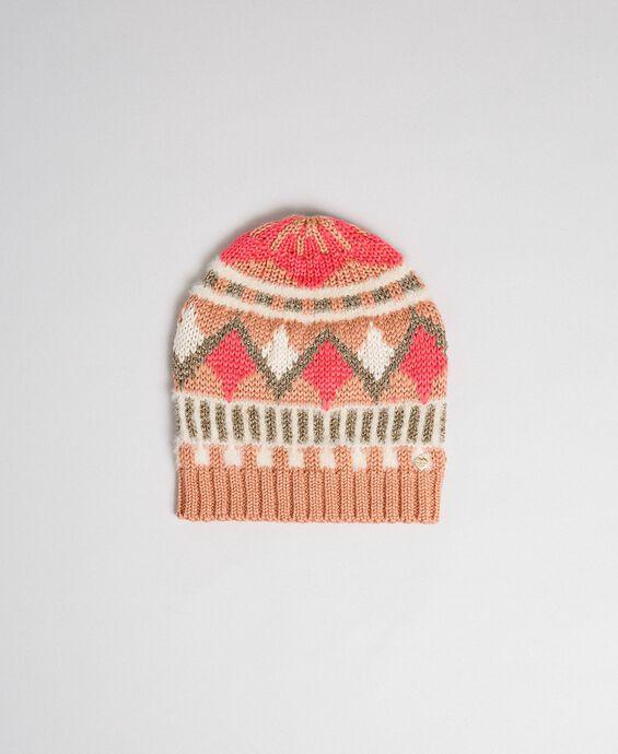 Berretto in maglia jacquard con lurex