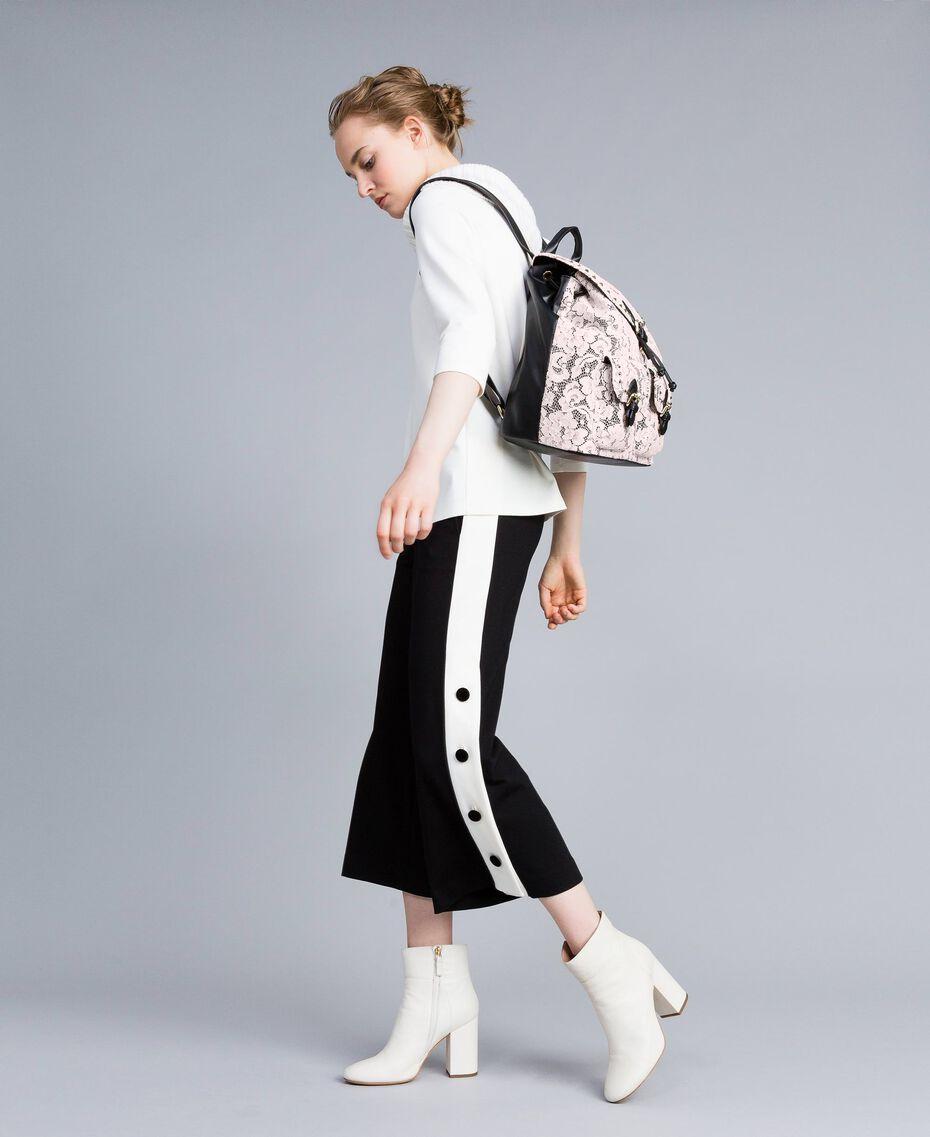 "Pantaloni cropped in punto Milano Bicolor Nero / Bianco ""Neve"" Donna PA821P-0T"