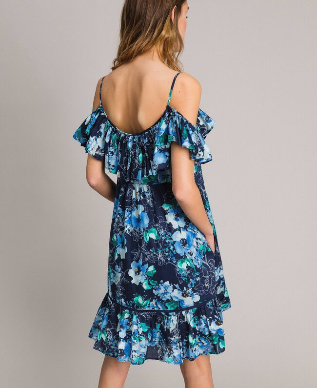 Floral print dress with ruffle and flounce All Over Blunight Multicolour Flowers Print Woman 191MT2290-04