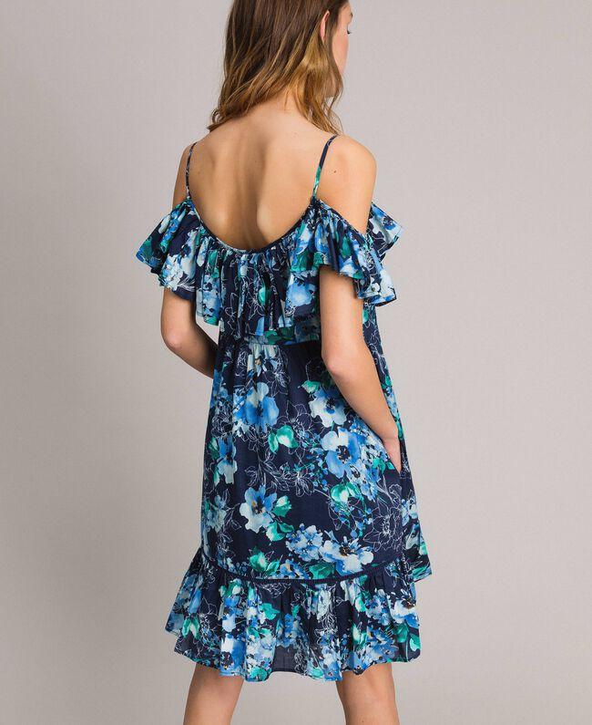 Robe avec imprimé floral et volant Imprimé Fleur Multicolore Bleu Nuit Total Femme 191MT2290-04
