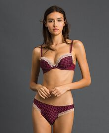 Polka dot briefs with lace Micro Polka Dot Purple Red Print Woman 192LI6366-01