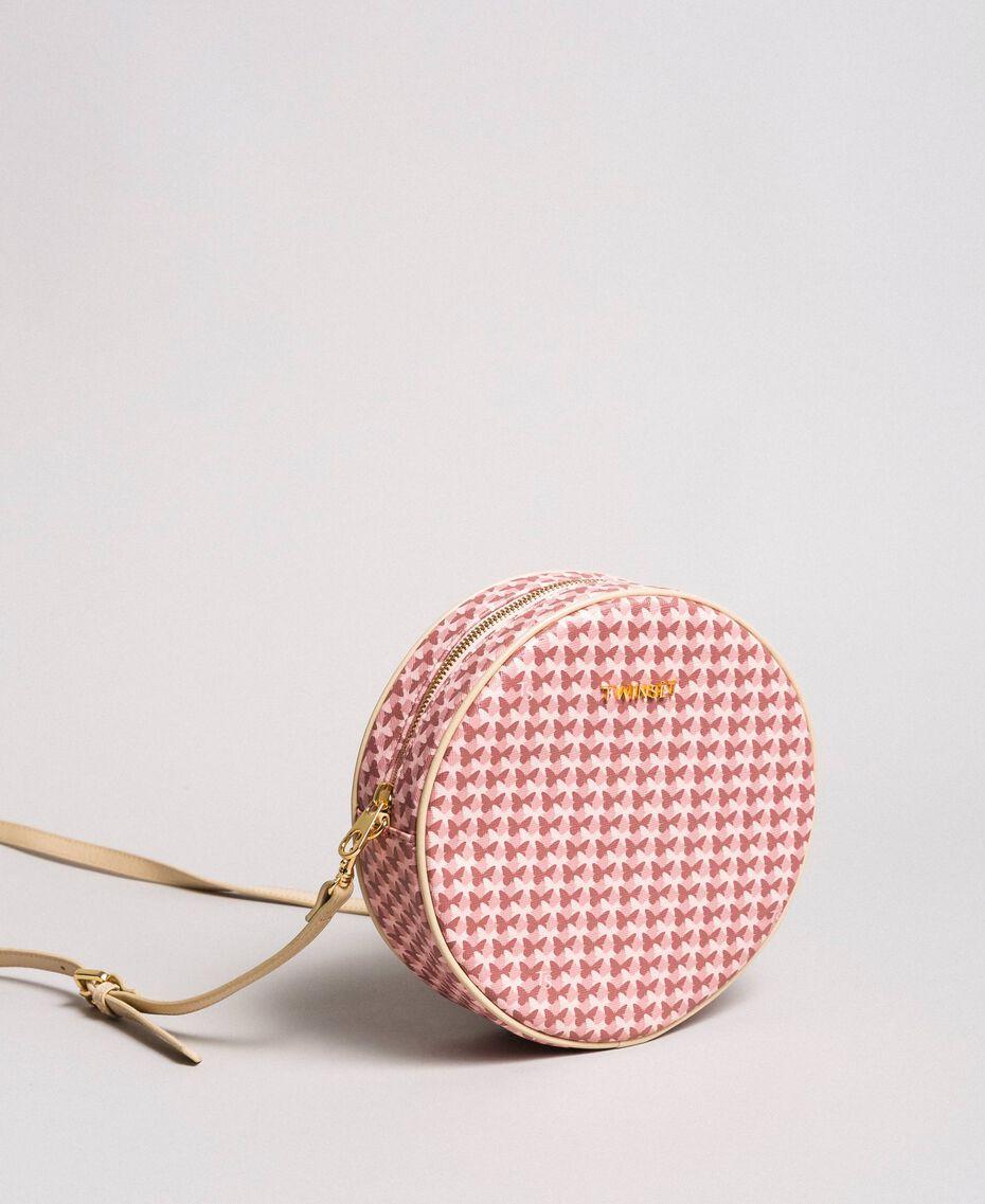 Butterfly print shoulder bag Pearl Pink Butterflies Print Woman 191TA7175-02
