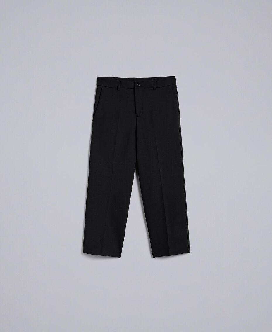 Pantalon en point de Milan Noir Femme TA822F-0S