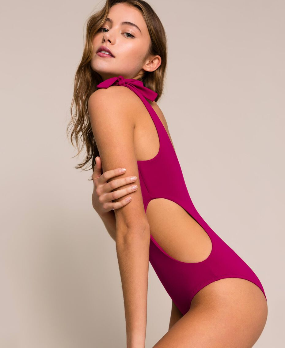 Logo one-shoulder one-piece swimsuit Hot Fuchsia Woman 201LBMHYY-01