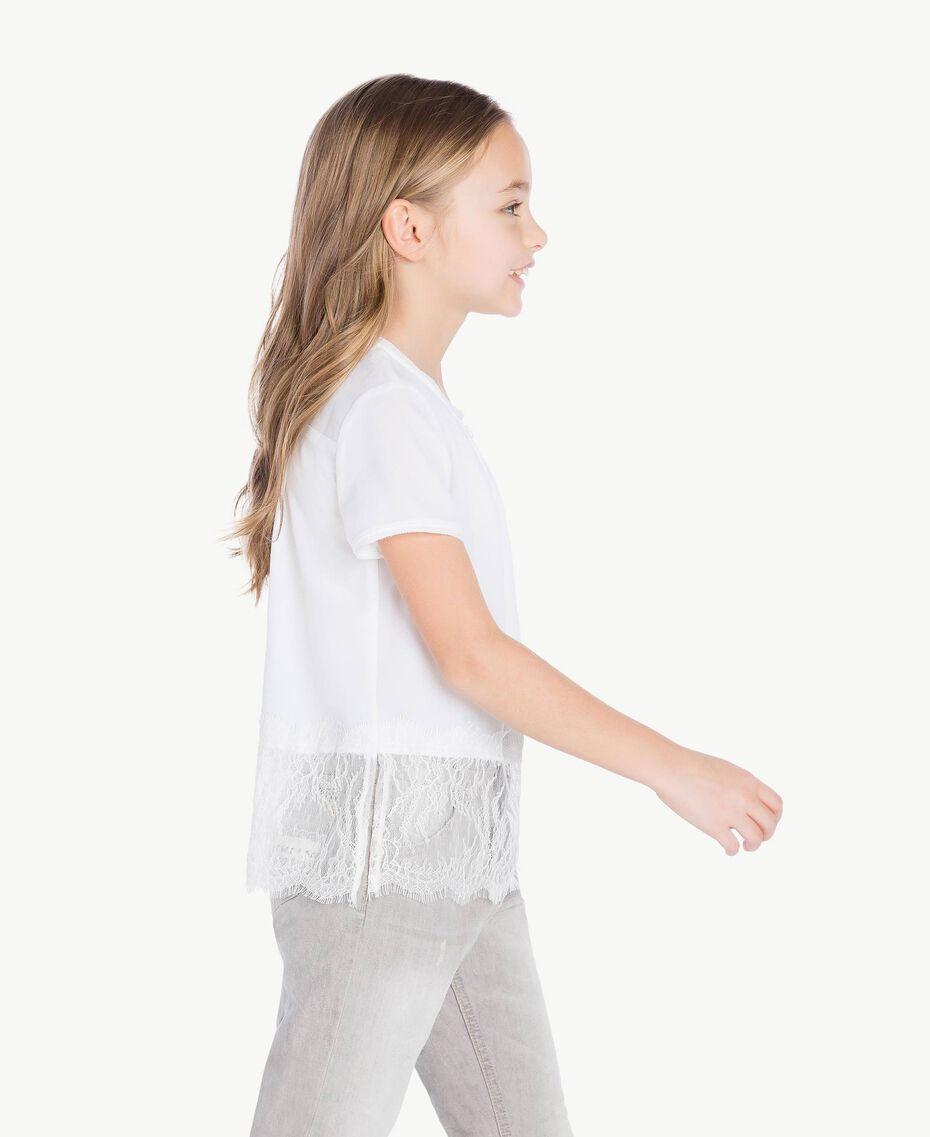 """Blouse dentelle Blanc """"Papers"""" Enfant GS82ED-03"""