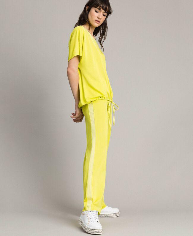 """Pantalon avec bandes latérales Jaune """"Jus De Citron"""" Femme 191LL23KK-05"""