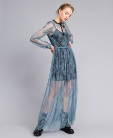 Long Valencienne lace dress Dusty Blue Woman PA82F2-01