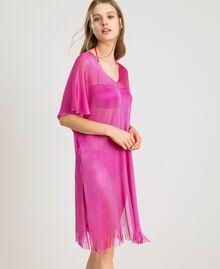 """Poncho à franges en laine brillante Fuschia """"Rose Psychédélique"""" Femme 191LB44CC-02"""