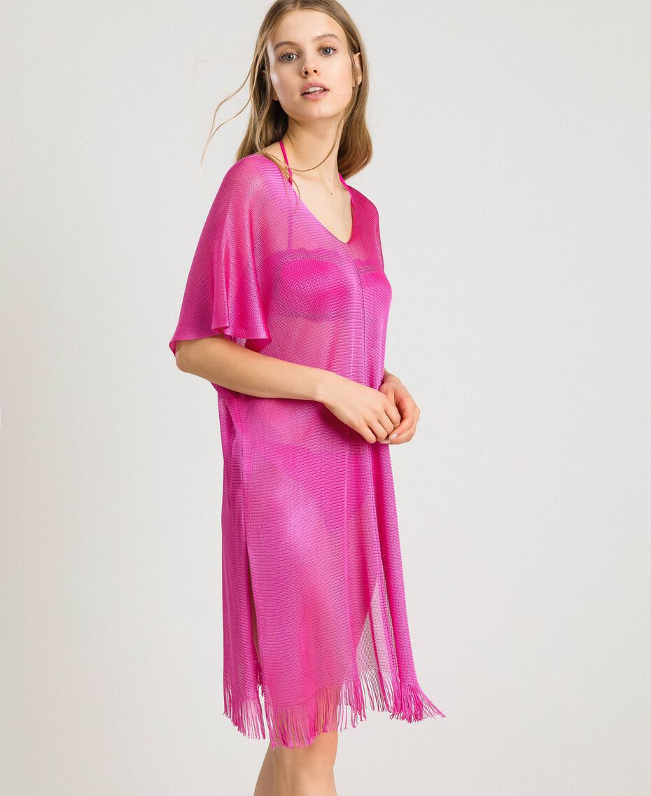"""Пончо из лощеной пряжи с бахромой Фуксия """"Ядовитый розовый"""" женщина 191LB44CC-02"""