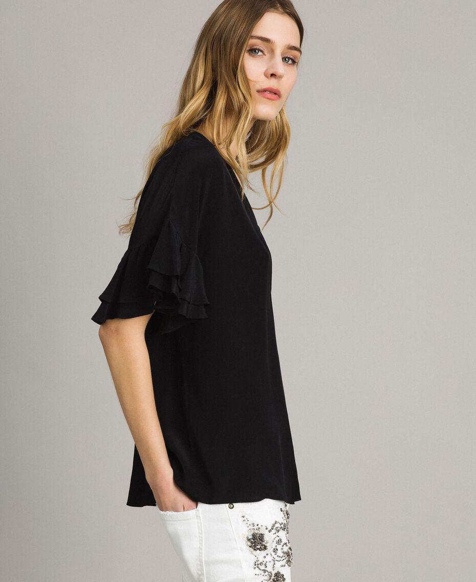 Блуза из смесового шелка Черный женщина 191TT2075-02