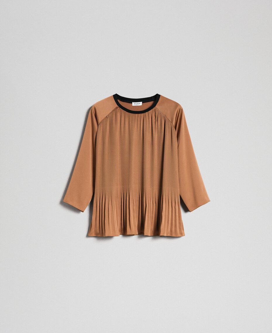 """Pleated blouse with three-quarter sleeves """"Sequoia"""" Beige Woman 192ST2090-0S"""