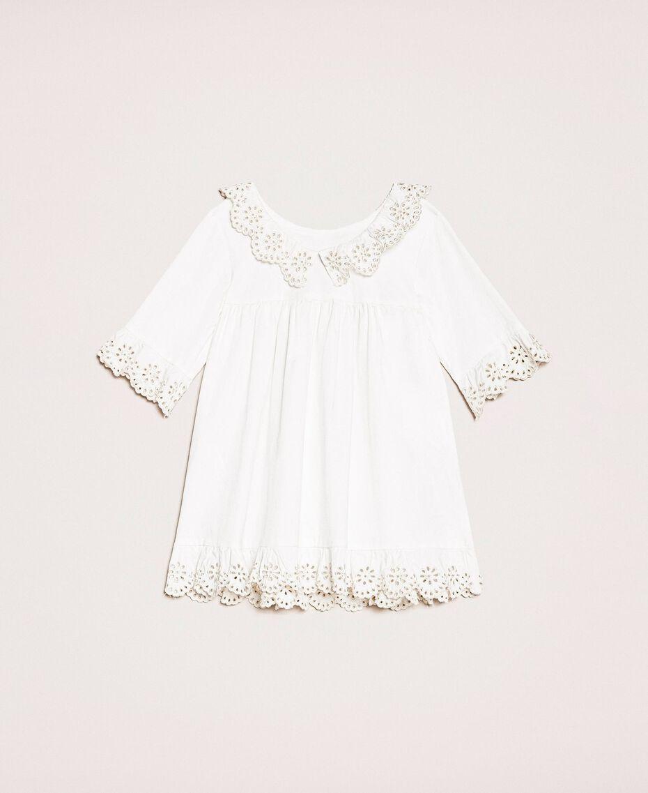 Robe en popeline et broderie anglaise Bicolore Blanc Papyrus / Chantilly Enfant 201GB2150-0S