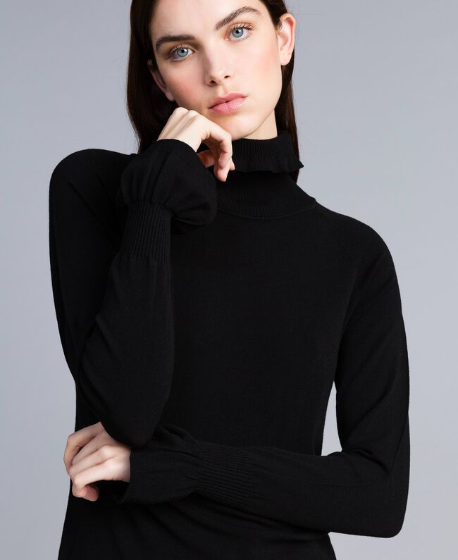 Stretch viscose mock neck jumper Black Woman TA836N-01