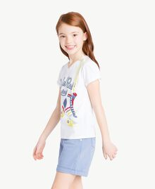 "Printed T-shirt ""Papers"" White Child GS82A1-03"