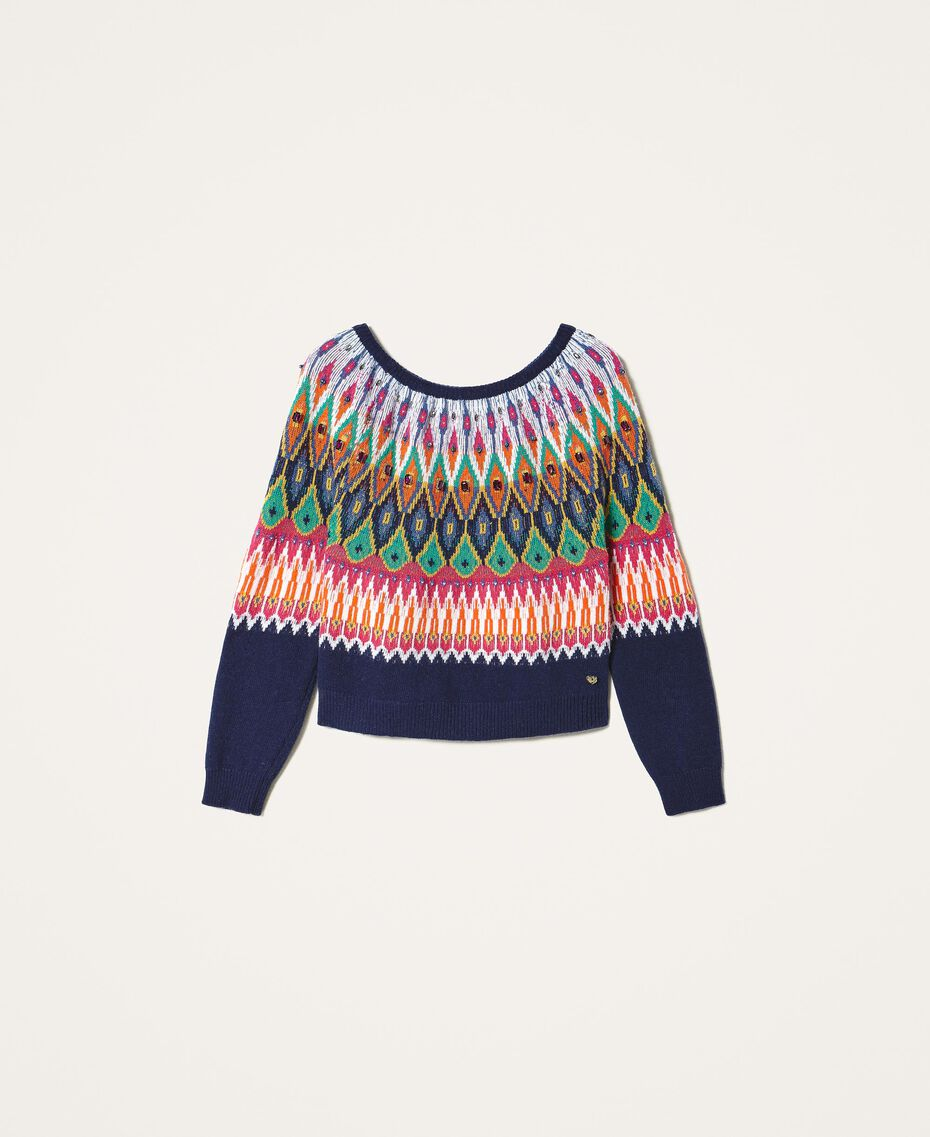 Multicolour jacquard jumper with embroidery Midnight Blue Woman 202MP3080-0S