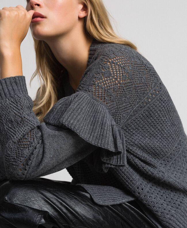 Pull ajouré en laine et cachemire Gris Mélangé Femme 192TP3201-01