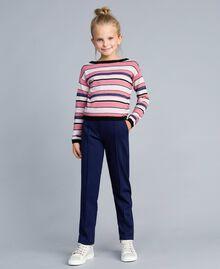 Pullover aus Lurexjacquard Mehrfarbig gestreifter Jacquard Kind GA83EB-02
