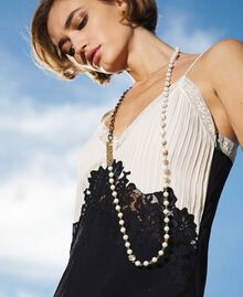Long chain with pearls and logo Parchment White Woman 202TO5048-0S