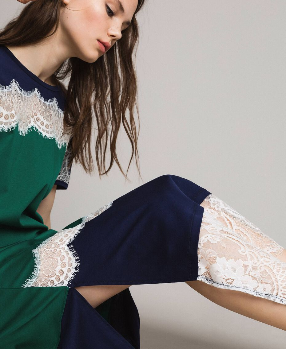 Robe longue color block avec dentelle Vert Evergreen Femme 191TP2271-05