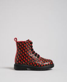 Leather combat boots with hearts Tiny Heart Print Child 192GCB028-02