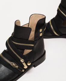Bottes motardes en cuir avec fermeture éclair Noir Femme 201TCP104-04