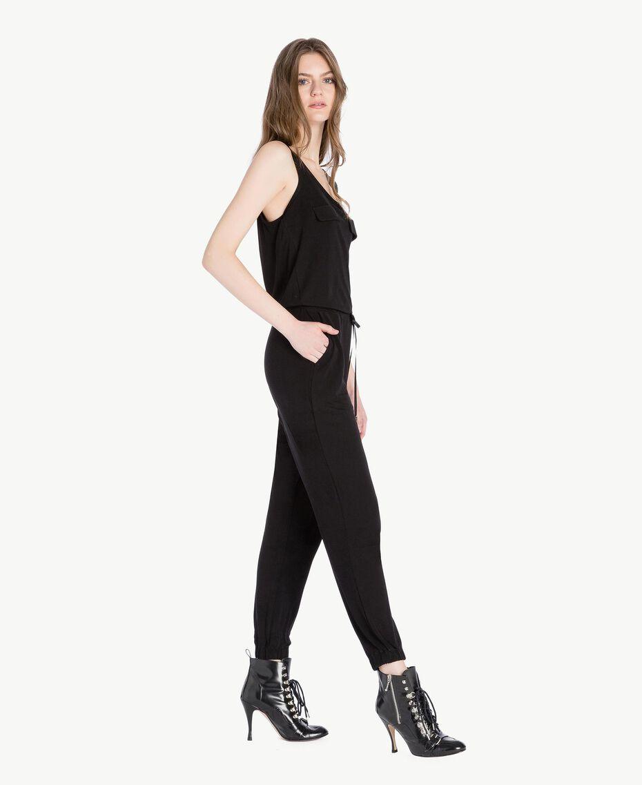 Jumpsuit aus Jersey Schwarz Frau PS82EN-02
