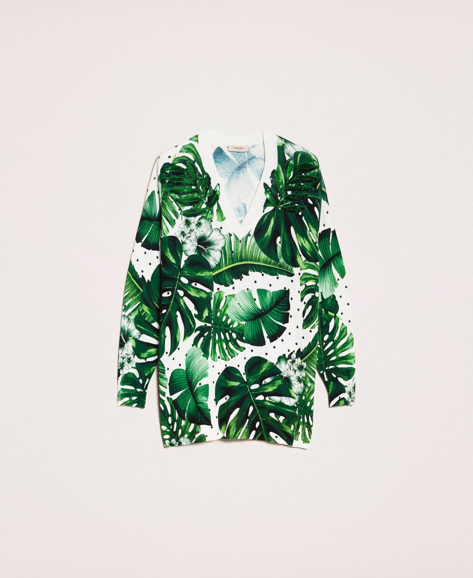 Длинная трикотажная кофта с принтом и отделкой пайетками Принт Тропический Горошек Зеленый женщина 201TP3263-0S