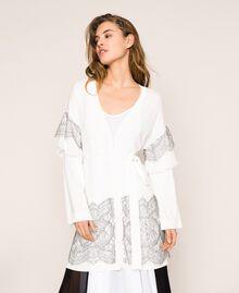 Maxi cardigan avec dentelle bicolore et plissé Blanc Antique White Femme 201TT3140-01