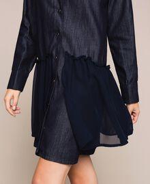 Denim shirt dress with rhinestones Denim Blue Woman 201MP2400-05